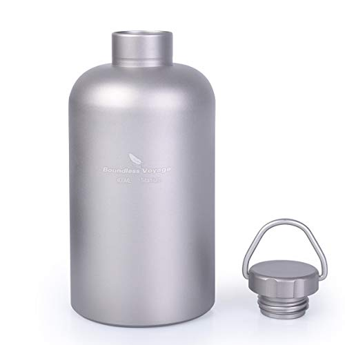 Boundless Voyage Botella de Titanio con Tapa de Titanio Acampar al Aire Libre Senderismo Deportes Picnic Drinkware 400ml