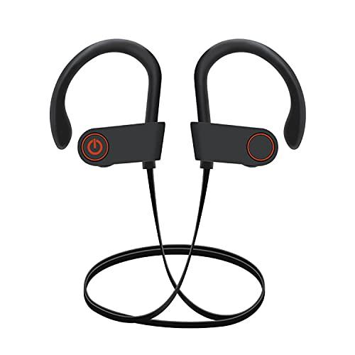 Cuffie Bluetooth wireless, auricolari sportivi, IPX7, impermeabili, per palestra, corsa, 8 ore di riproduzione, cancellazione del rumore, colore nero