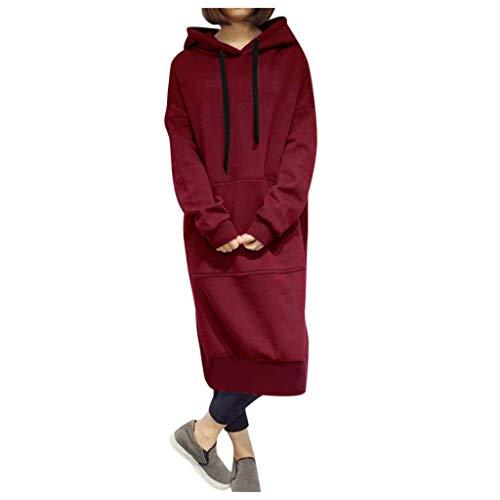 GOKOMO Frauen Winter Warm Hoodie Baggy Pullover Damen schwarz lang Oversize Sweatshirt Langes Kleid(Wein,XXXXX-Large)