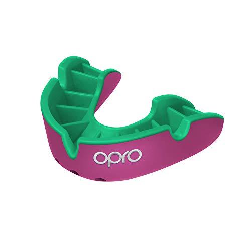 OPRO Protector Bucal Self-Fit Silver - para Rugby, Hockey, Lacrosse, fútbol Americano, Baloncesto y más - Fabricado en Reino Unido (Rosa/Verde, Adulto)
