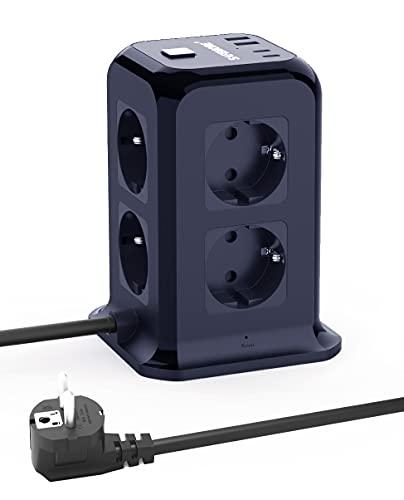 SAFEMORE - Regleta de 8 enchufes con 4 puertos de carga USB (2 USB C) y cable de 1,85 m (5 V/4,8 A), protección contra sobretensión y protección contra cortocircuitos, color azul