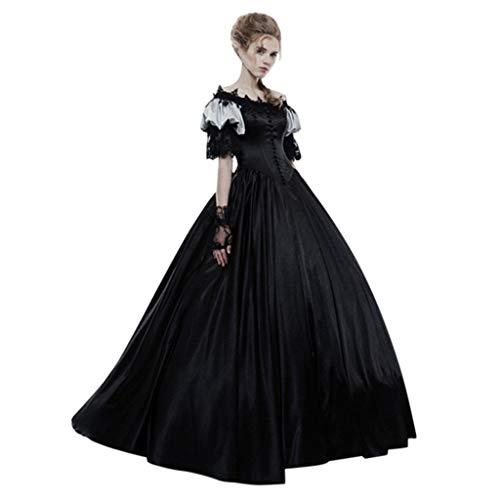 Lomelomme Halloween Damen Mittelalter Vintage Gothic Gericht Kleid Kuchen Rock Spitze Kleid Plissee Kostüm Kleider Kurzarm Frauen