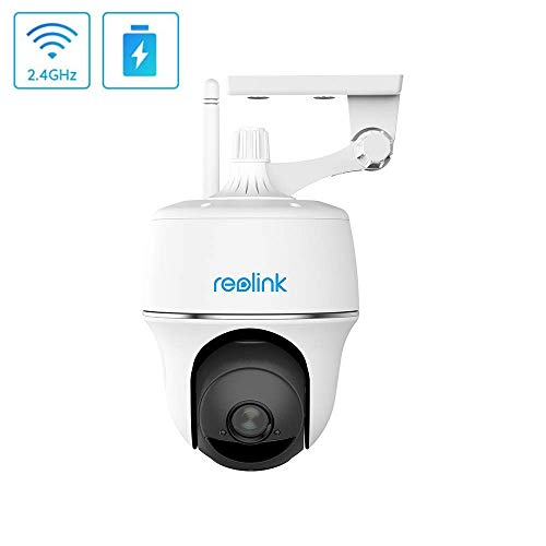 Reolink Akku Überwachungskamera Aussen WLAN 355°/140° schwenkbar, kabellose 1080p HD IP Kamera mit PIR Bewegungsmelder, Sternelicht Nachtsicht, und 2-Wege-Audio, Argus PT