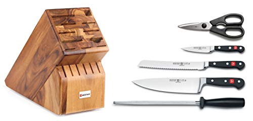 """WUSTHOF Classic 6 Piece Kitchen Knife Set   3.5"""" Paring Knife, 8"""" Bread Knife, 8"""" Cook"""