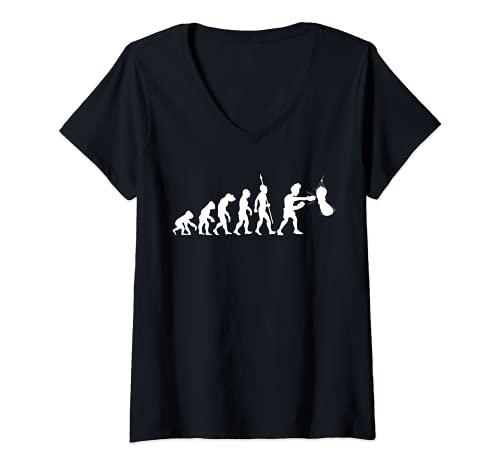 Damen Boxer Boxen Kampfsport Boxsport Boxsack Evolution Lustig Fun T-Shirt mit V-Ausschnitt