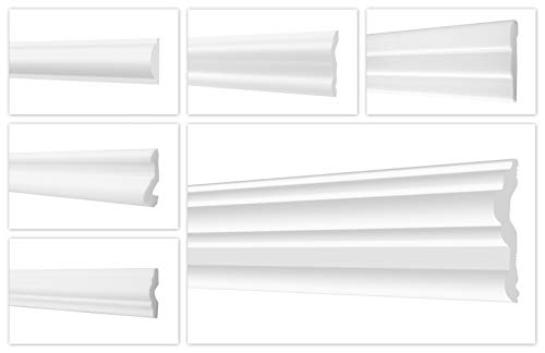 HEXIMO 2 Meter Wandleisten aus Styropor XPS - Hochwertige Stuckleisten leicht & robust im modernen Design - (FG2-36x17mm) Stuck Friesleiste Zierleiste Styroporleiste Wandzierleiste Stuckleiste