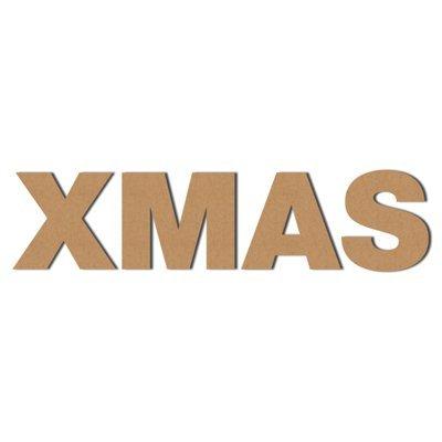 DRUCKUNDSO (Xmas) Pappbuchstaben XXL Dekoration, Wellpappe, Buchstaben aus Pappe, Ladendeko, Geschenk, Höhe 50 cm