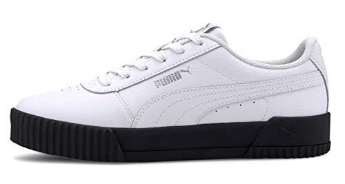 PUMA Carina L, Zapatillas para Mujer, Blanco White Black Silver, 36 EU
