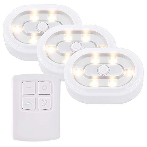 Luz de Noche Lampara Nocturna de LED para Bajo Mueble Interior Armario con Control Remoto Inalambrica Regulable y Temporizador, Iluminacion Luz Calida, 3 Lamparas y 1 Control Remoto de Enuotek