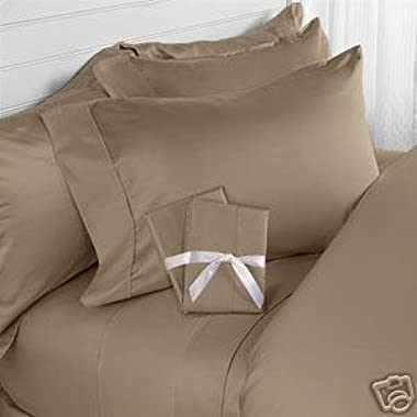 ELEGANT COMFORT® WRINKLE & FADE RESISTANT 1500 Thread Count Egyptian Quality Luxurious Silky Soft 4 pc Sheet set, Deep Pocket Up to 16  - King TAUPE