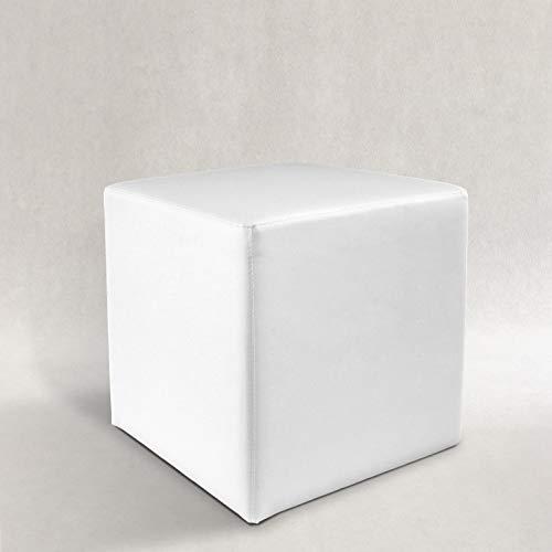 Pouf, POUFF, Puff, PUF, CUBO, Ecopelle, Eco-Pelle, POGGIAPIEDI, Seduta, Design, Made in Italy (Bianco)