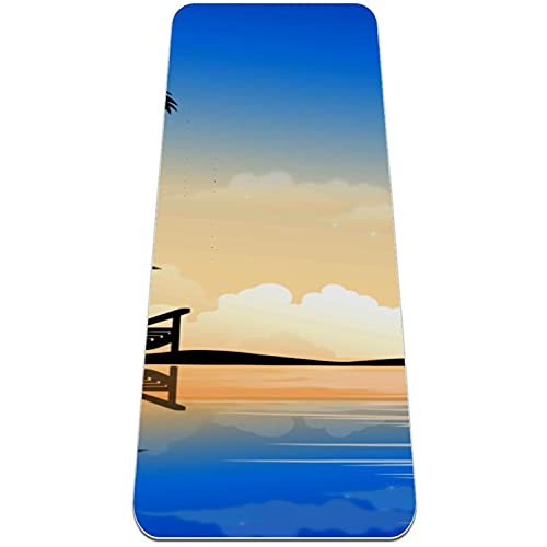 Esterilla de yoga, hermoso fondo de verano de palma antideslizante para yoga, pilates y gimnasia
