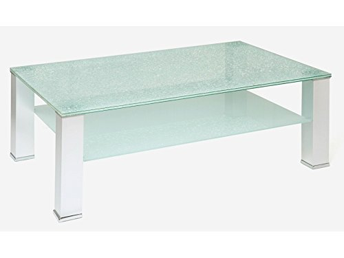 Glastisch Couchtisch Crashglas Wohnzimmertisch 110x65 mit Ablage