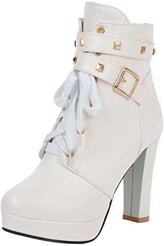 Stiefeletten Damen Ankle-Boots Plateausohle Schnürstiefel mit Schnalle, Frauen Winter Schuhe Blockabsatz Mode Stiefel Elegant Halbstiefel Celucke (Weiß, 36 EU)