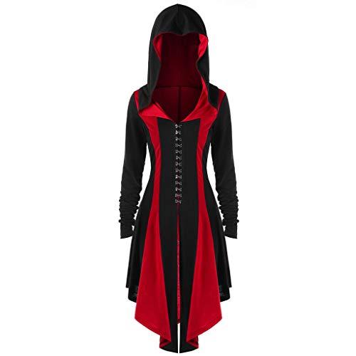 Mittelalter Kleidung Damen Große Größen,Frauen Vintage Gothic Hoodies Unregelmäßigen...