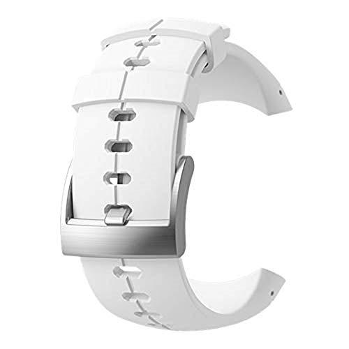 Suunto, Bracelet de Remplacement Original pour Toutes les Montres Suunto Sparten Ultra, Silicone, Longueur: 24,5 cm, Largeur: 25 mm, Blanc/Argent, Cheville de Montage Incluse, SS022690000