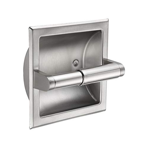 BVL Stainless Steel 304 Recessed Toilet Paper Holder Wall Mount- Inset Roll Holders Easy Installation - Saves Space in Your Bathroom,Brush Nickel