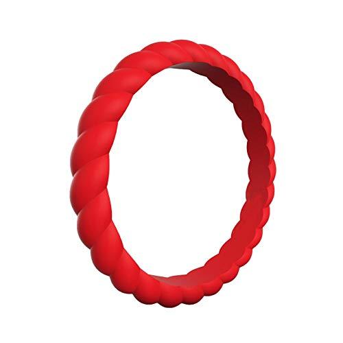 Ruby569y Anillo giratorio de 2 piezas creativo trenzado de silicona para mujeres niños niñas moda boda banda accesorio de fiesta regalo rojo US 10