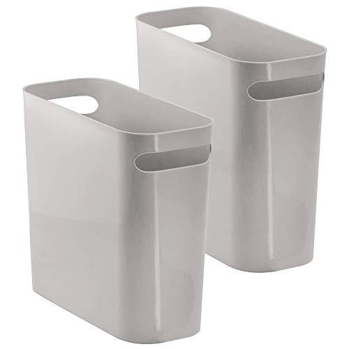 mDesign Mülleimer mit Griffen – ideal als Abfallsammler oder Papierkorb für Küche, Bad oder Büro – eckiger Eimer ohne Deckel – aus robustem Kunststoff – 5,7 Liter Kapazität - 2er-Set – grau