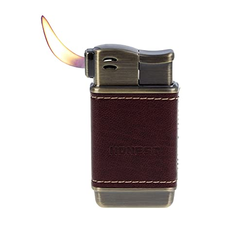 Soft Flame Pipe Lighter Leather Refillable Butane Gas Adjustable Flame Size for Cigar Cigarette Men Gift,Brown