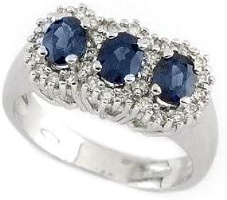 Gems&Gold srl Anello in Oro Bianco con Diamanti e Pietre Preziose Smeraldo Rubino Zaffiro