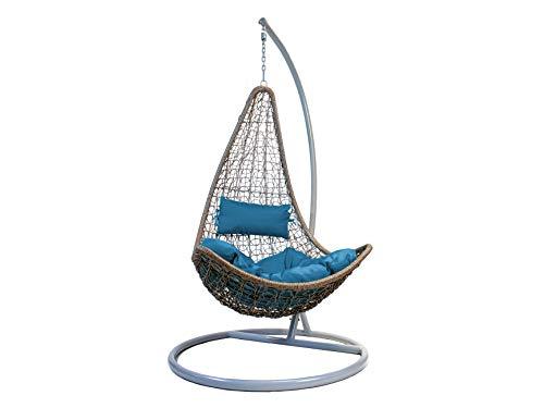 Poltrona Sospesa sedia a dondolo da esterno in PE rattan con struttura in metallo e cuscino color Ottanio