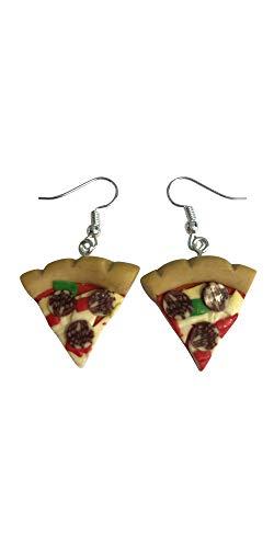 BriteSparkz - Pendientes de Pizza chapados en Plata con diseño de Pepperoni