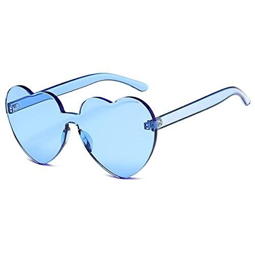WQZYY&ASDCD Gafas de Sol Gafas De Sol De Corazón Sin Montura para Mujer, Gafas De Sol para Mujer, Lentes Transparentes De Caramelo, Gafas para Mujer, Azul