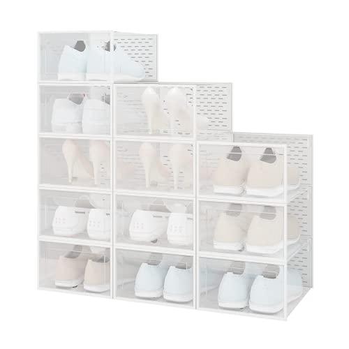 UDEAR Caja de Zapatos con Puerta, Caja de Zapatos portátil, apilable, Plegable, Caja de plástico, 12 Paquetes, Blanco Transparente