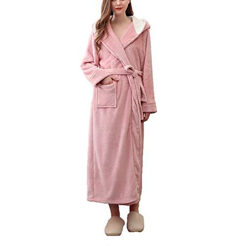 AXDNH Camisón de Pareja de Pareja, Damas Flannel Pijamas Otoño Invierno Prendas de Dormir extendidas Hombres de Gran tamaño Terciopelo de Bata de baño Suave cómodo,Rosado,M