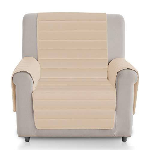 Vipalia Funda de Sofa Acolchada Viscoelastica. Protector Cubresofa Reversible. Comoda Descanso Adaptable Ergonomica. Alivio Lumbar Espalda. Diseño Patente Mundial. Color Beige, 1 Plaza