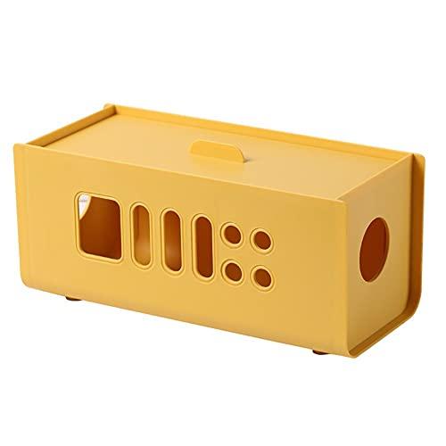 Caja De Almacenamiento De Cables Tidy Under Desktop Caja De Cables Organizadores De Cables De TV Caja De Almacenamiento De Cables Enchufables De Plástico Caja De Cables De Regleta Yellow,One Size
