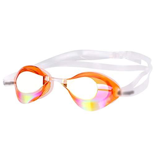 Nunca te rindas Occhialini galvanici per Nuoto Professionale Maschile e Femminile, Pellicola cromata Impermeabile e antiappannante, 3 Colori (Color : Orange)