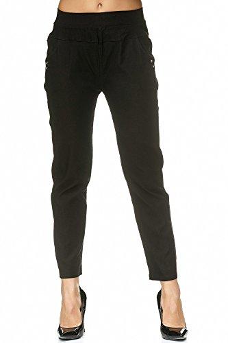 JillyMode hochwertige Damen High Waist Stretch Hose I Schwarz I Weiß bis Gr.50 (A1310-BK-3XL)