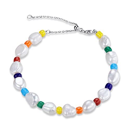 NewL Plata de ley 925 arco iris Shell perla pendientes colores perla pulsera ajustable pulsera para mujer conjunto de joyas