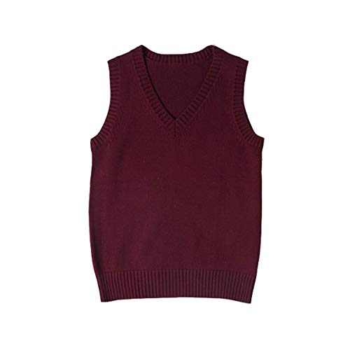 WOOKIT Chaleco de Uniforme JK de Color Liso Cuello Pico Chaleco de Punto algodón Abrigo Estilo japonés Vino Tinto-XS
