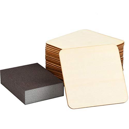 YOTINO 24er Tablero de Madera Contrachapada dechapas de abedul lijado en ambas de Contrachapado de Bricolaje para accesorios de manualidades, etc. + Esponja de Pulido(10 * 10 * 3)