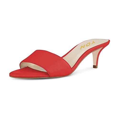 YDN Bequeme Damen-Sandalen mit niedrigem Absatz und offenem Zehenbereich, Rot (Rot-5 cm), 38 EU