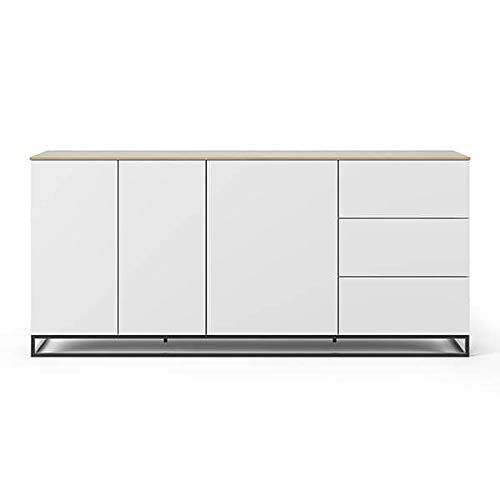 Buffets Design et élégants, Collection Join, signée TEMAHOME. - Join 200H1, piétement Acier Noir, Blanc Mat, Plateau en chêne