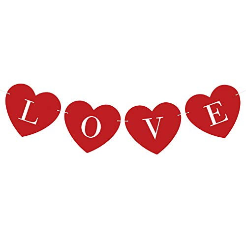 TUPARKA Red Heart LVOE Sign Banner Red Hearts Hanging String Garland Banner for Valentine's Day Decoration Valentines Wedding Anniversary Decoration Supplies, Pre-strung