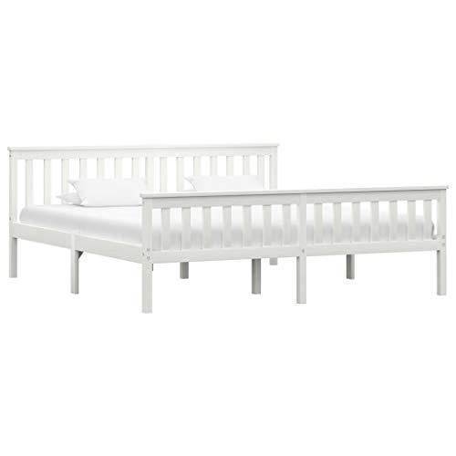 vidaXL Madera Maciza de Pino Estructura de Cama Matrimonio Doble Blanca 180x200 cm Somier Muebles de Dormitorio Habitación