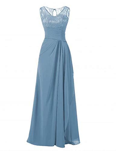 Vestido de noche de encaje para mujer con cuello redondo de gasa, vestido de madre de la novia para boda largo, Azul Pizarra, 24 Plus
