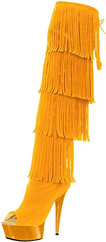 The Highest Heel Women's Amber 305 Thigh High Open Toe Microsuede Fringe Boot Over The Knee, Yellow, 9 M US