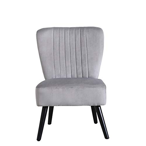 Neo® Crushed Velvet Shell Scallop Accent Occasional Chair Armchair Dining Furniture (Grey, 1)
