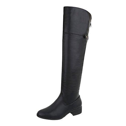 Ital-Design Overknees Damen-Schuhe Overknees Blockabsatz Blockabsatz Reißverschluss Stiefel Schwarz, Gr 38, A-21-