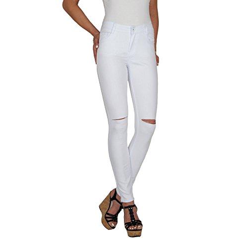 DB Damen Stretch High Waist Röhrenjeans mit Riss am Knie bis Übergröße in weiß (S / 36, Weiß)