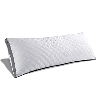 MoMA Premium Adjustable Loft Quilted Body Pillows - Hypoallergenic Fluffy Pillow - Quality Plush Pillow - Down Alternative Pillow - Head Support Pillow - 21 x54