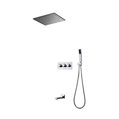 GUANGHEYUAN-J Juego de grifería de ducha con 3 funciones, mando a distancia LED, cabezal de ducha con termostato de latón