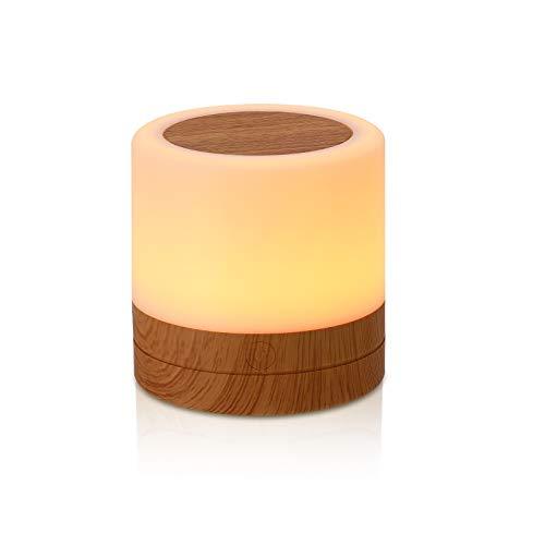 GREENTREEN Mini lámpara de mesita de noche, mando a distancia, lámpara de mesa, regulable, cambio de color, con control táctil USB