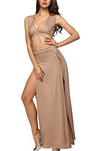 Zeagoo Damen Tiefer V-Ausschnitt Abendkleid Ballkleid Maxikleid